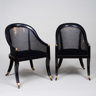 Near Pair of Regency Style Ebonized and Caned Gondole Chairs