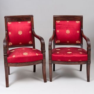 Assembled Pair of Empire Mahogany Fauteuils à la Reine