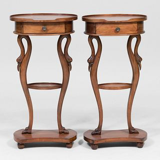 Pair of Empire Style Provincial Fruitwood Side Tables