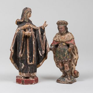 Continental Painted and Parcel-Gilt Wood Models of St. Luke and St. Catherine of Siena