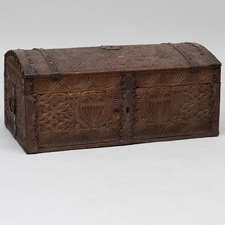 Northern European Metal-Mounted Carved Oak Domed Trunk, signed J.V.M, 1729