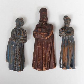 Group of Three Continental  Carved and Painted Wood Figures