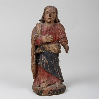 Small South American Painted and Carved Wood Figure of a Saint