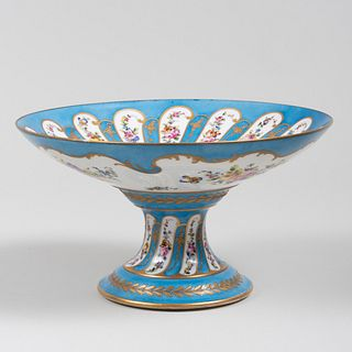 French Turquoise Ground Porcelain Compote