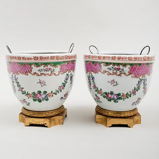 Pair of Chinese Export Style Porcelain Gilt-Metal-Mounted Jardinières