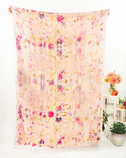 Large eco-printed throw, sarong, shawl with fringe: Pink, rose, mauve