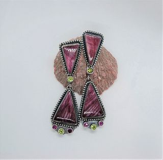 Phyllis Floyd, Purple Spiny Oyster Earrings with peridot and rhodolite garnet accents