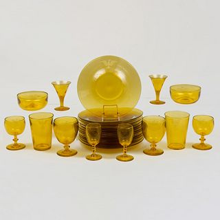 Extensive Continental Amber Glass Part Service Ectched with an Eagle Crest