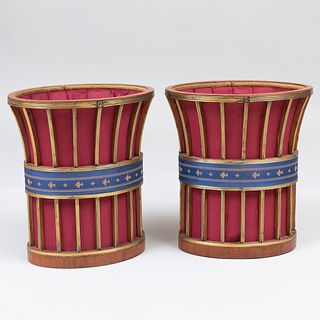 Pair of Russian Neoclassical Style Brass-Mounted Fabric Baskets