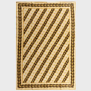 Yellow and Brown Linen 'Windsor Tetre Negre' Rug, Stark