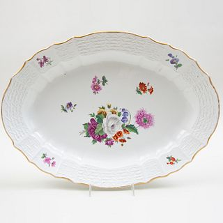 Large German Porcelain Platter Decorated with Flower Sprays, Probably Helena Wolfson