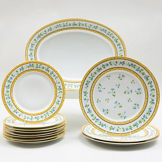 Raynaud Et Cie Limoges Porcelain Part Dinner Service in the 'Morning Glory' Pattern