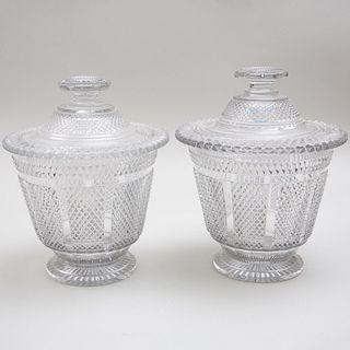 Near Pair of Irish Cut Glass Covered Urns