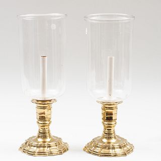 Pair of Louis XIV Style Gilt-Metal and Glass Photophores