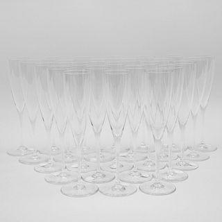 Twenty-Five Baccarat Glass Champagne Flutes