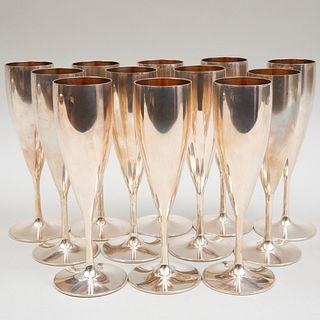 Twelve Italian Silver Champagne Flutes
