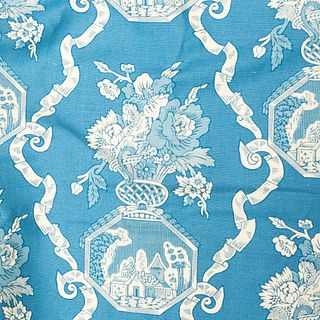 Bolt of Georges Le Manach Cotton Blue Toile Fabric, French