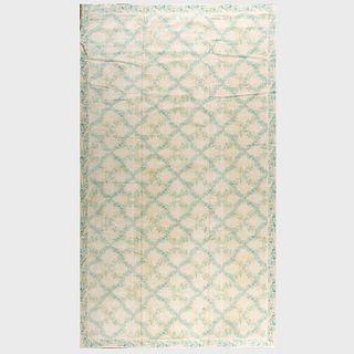 "Green, Blue and Cream 'Grand Trellis"" Linen Carpet, Stark"