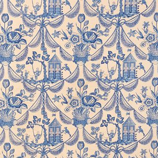 Bolt of Blue and White Linen Toile Fabric