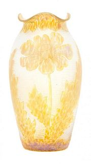 An Austrian Iridescent Cameo Glass Vase Height 10 3/4 inches.