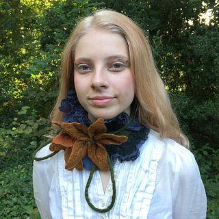 Ruffled Silk and Wool Collar - Pewter & Ocher