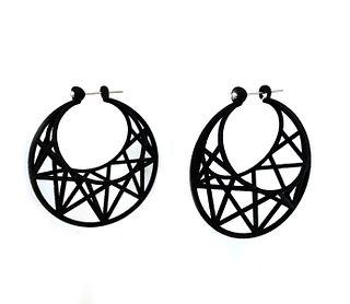 Star Cage Earrings - Black
