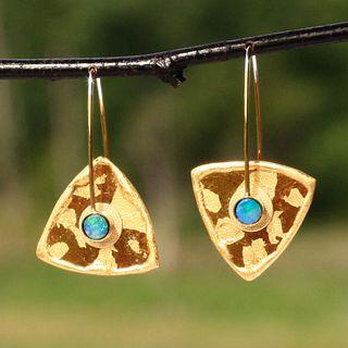 Mica and Opal Triangle Earrings