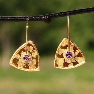 Mica and Amethyst Triangle Earrings