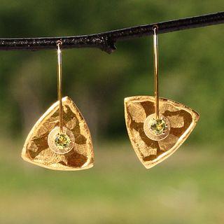 Mica and Peridot Triangle Earrings