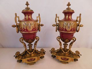PAIR FRENCH SEVRES TYPE URNS
