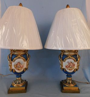 PAIR FRENCH PAINTED PORCELAIN LAMPS - CHERUBS & FLOWERS
