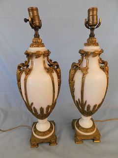 PAIR FRENCH MARBLE & BRONZE LAMPS