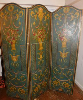 ANTIQUE PAINTED ROOM SCREEN