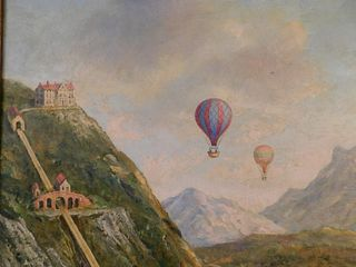 BALLOONS OVER ALPS OIL PAINTING