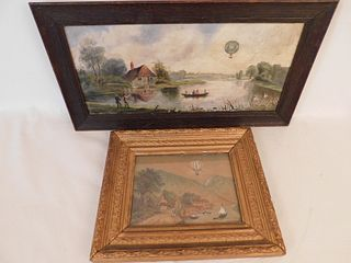2 OLD PAINTINGS WITH BALLOONS