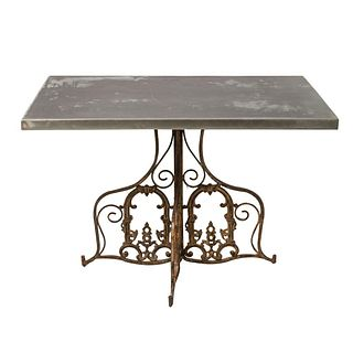 19th Century Zinc Top Table With Wrought Iron Base