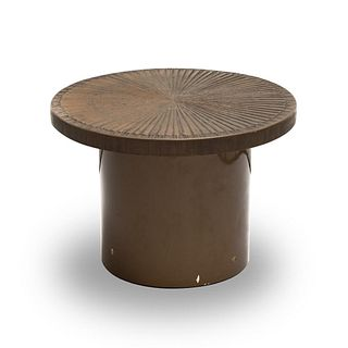 Mid Century Hand Sculpted brutalist round occasional table