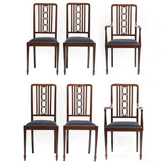 20th Century Set of 6 Art Nouveau Burled Inlaid Chairs