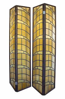 Art Deco Early 20th Century Leaded Glas Screen
