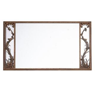 Hollywood America decorator 20th Century Classical asian influenced hall Mirror divided into 3 panels with floral carved motifs at each end