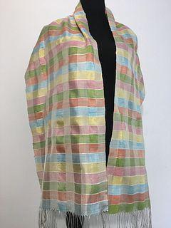 Handwoven, Hand-dyed Silk Shawl