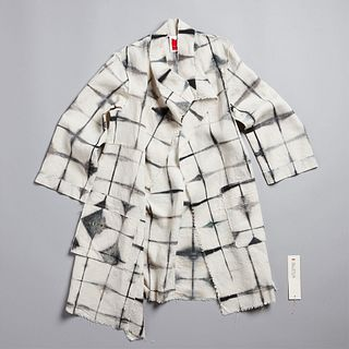 Abstract Squares Merchant Coat in Ecru + Anthracite