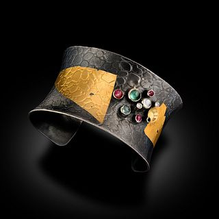 Thick 24 Karat Gold and Oxidized Sterling Cuff With Precious Stones and F, VS Diamonds