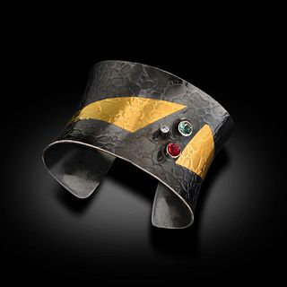 Thick 24 Karat Gold and Oxidized Sterling Cuff With Three Precious Stones