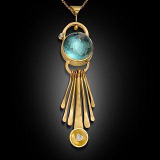 Kinetic 18 Karat Gold Necklace With Precious Stone and F, VS Diamonds