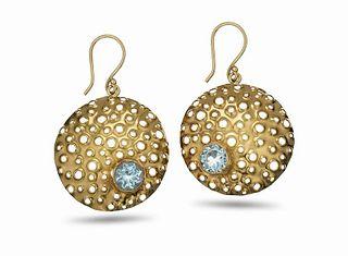 Large HaLo Gold Aquamarine Reef Earrings