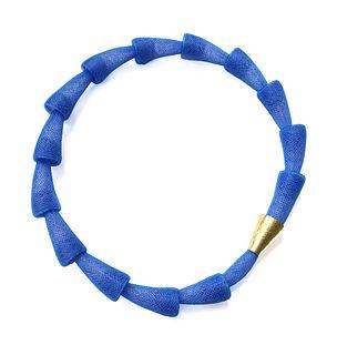 Pod Necklace Bright Blue Gold  Clasp