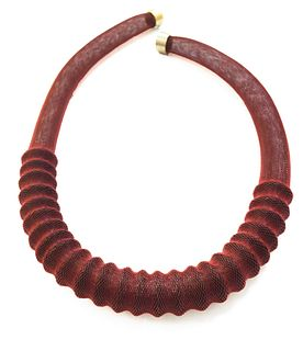 Ribbed Necklace Red