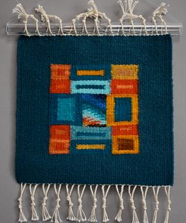 Donna Loraine Contractor, Turquoise and Orange Fractured Square #1