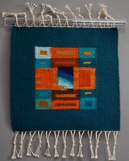 Donna Loraine Contractor, Turquoise and Orange Fractured Square #2